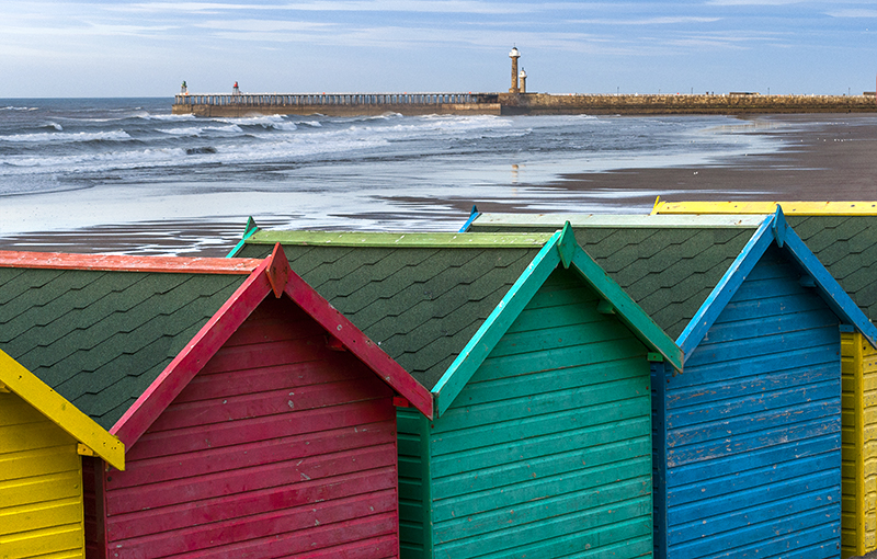 Whitby huts and pier