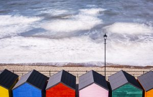 Beach huts by the sea