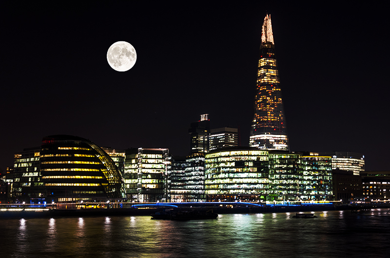The Shard and City Hall on the banks of the River Thames, London
